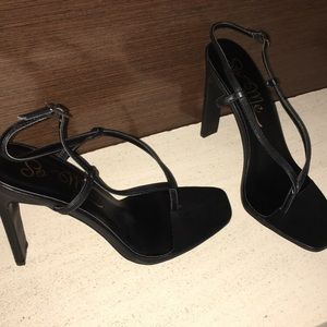 Black sandal heels , BRAND NEW in box. Size 9